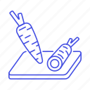 board, carrot, carrots, cutting, food, fruits, vegetables icon