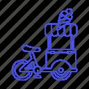 bike, cargo, cart, cold, cone, cream, food, ice, sweet icon