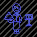 waitress, customer, restaurant, food, female, domed, menu, tray, service, staff icon