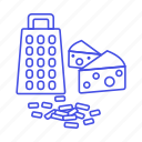 food, meals, shredded, holes, swiss, grater, cheese icon