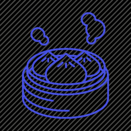 asian, bamboo, cuisine, dumpling, food, steam, steamer, uyghur icon