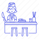 restaurant, full, food, female, asian, nigiri, cook, tray, sushi, knife, japanese, chef icon
