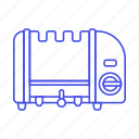 3, appliance, breakfast, cooking, food, kitchen, slice, three, toaster icon