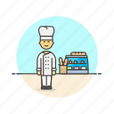 bakery, basket, bread, chef, dessert, food, loaf, man icon