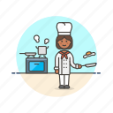 chef, food, cook, woman, stove, egg, boil, restaurant icon
