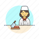 avatar, chef, chop, cook, food, prepare, restaurant, woman icon
