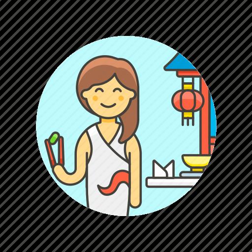 avatar, chinese, chopsticks, eat, food, lunch, restaurant, woman icon
