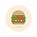 food, hamburger, cheeseburger, double, fast, junk