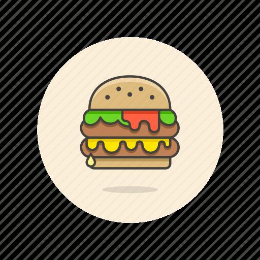 cheeseburger, double, fast, food, hamburger, junk icon