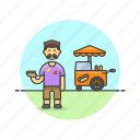 cart, fast, food, hotdog, man, meal, outdoors icon