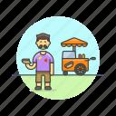 cart, fast, food, hotdog, man, meal, outdoors icon