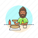 avatar, beard, fast, food, hotdog, man, meal icon