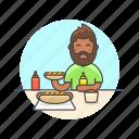 avatar, beard, fast, food, hotdog, man, meal icon