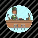 chef, chopsticks, food, japanese, restaurant, sushi, woman icon