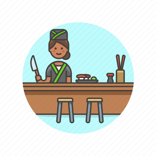 chef, chopsticks, food, japanese, restaurant, sushi, woman icon