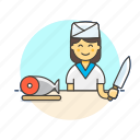 chef, fish, food, japanese, restaurant, salmon, woman icon