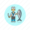 chef, food, japanese, fish, man, restaurant, salmon