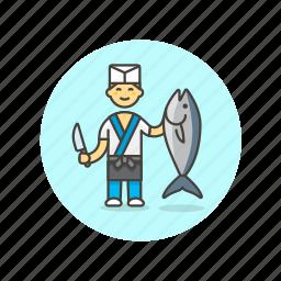 chef, fish, food, japanese, man, restaurant, salmon icon