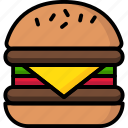 breakfast, eat, food, hamberger, meal icon