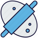 bakery, baking, bread rolling, food, kitchen, roller icon