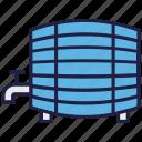 barrel, firkin, food, keg, water container, water tank icon