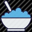 bowl, dinner, eating, food, rice, spoon