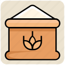 flour, food, grain, sack, wheat bag, wheat suck icon
