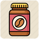 bean, bottle, coffee, food, seed