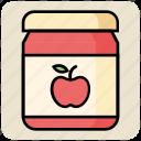 apple, apple flavor, apple jam, food, jam, jam jar icon