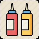 bottles, food, ketchup, ketchup bottles, mustard, sauce, tomato icon