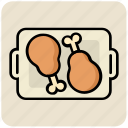 chicken, drumstick, eating, food, hot, leg piece, tray icon