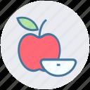 apple, apple slice, eating, energy, food, fruit icon