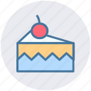 cake, cake piece, cake slice, cherry, food, slice icon