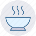 bowl, food, hot food, hot soup, snack, soup icon