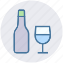 alcohol, bottle, bottle and glass, drinking, glass, wine icon