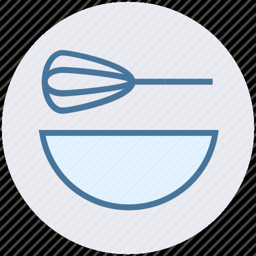 beater, bowl, food, hand beater, hand mixer, mixer icon