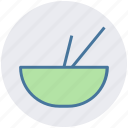 bowl, bowl and sticks, eat, food, soup, sticks icon