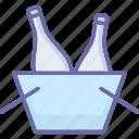 bucket cooler, champagne bucket, wine bottle, wine bucket icon
