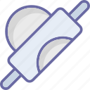 bread roller, dough roller, kitchen tool, roller pin icon