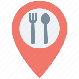 food place, map pin, restaurant location, restaurant nearby, takeaway location icon