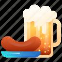 beer, beer cup, drink, sausage
