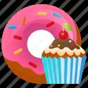 bakery, breakfast, cake, cup cake, dessert, donut, sweet