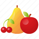 apple, cherry, fruit, fruits, pear, tropical icon