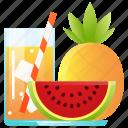 drink, juice, pineapple, tropical, watermelon