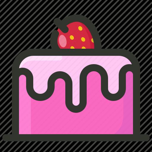 bakery, birthday, cake, dessert, food, fruit, strawberry icon