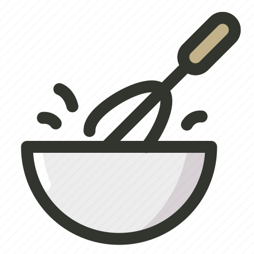 Food, bowl, mixer, hand, beater, egg icon