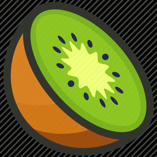 food, fruit, half, juice, kiwi, slice icon