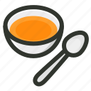 food, soup, spoon, bowl, restaurant