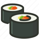 food, japanese, restaurant, roll, seafood, sushi icon
