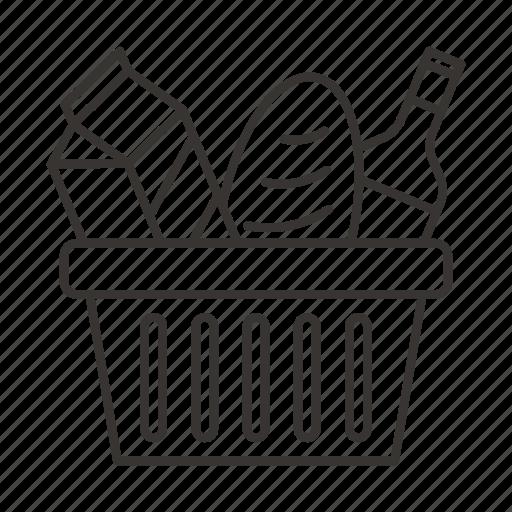 bottle, bread, buy, cart, food, kitchen, shop icon